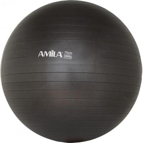 Amila 48417 Μπάλα Pilates 75cm Bulk Μαύρη